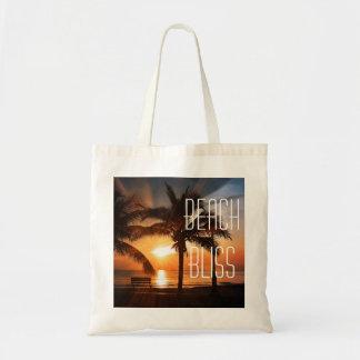 Tote Bag Coucher du soleil tropical et palmier de bonheur