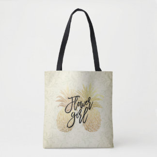 Tote Bag Couples vintages d'ananas d'or de demoiselle de
