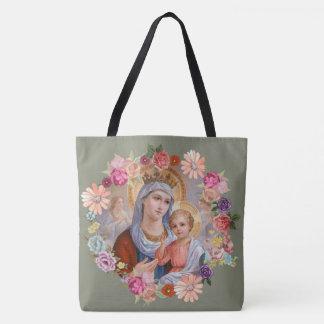 Tote Bag Couronne florale d'anges de Jésus de bébé de Mary