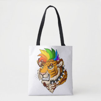 Tote Bag Coutume de tigre de punk/Mohawk tout plus de -