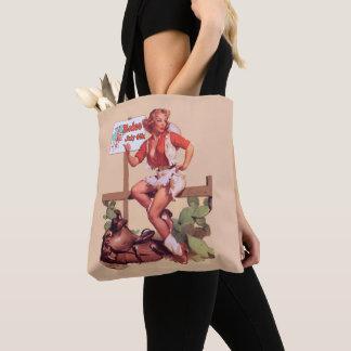 Tote Bag Cow-girl vintage sur la barrière avec le signe de