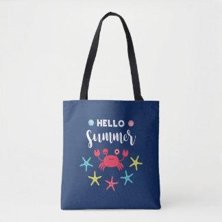 Tote Bag Crabe heureux d'été de bleu marine bonjour
