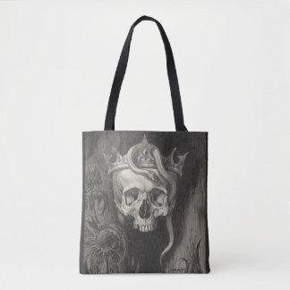 Tote Bag crâne avec la couronne et le noir et le blanc de