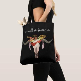 Tote Bag Crâne floral de Bohème d'Antler. Sauvage au coeur