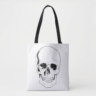 Tote Bag Crâne noir effrayant affligé de Halloween
