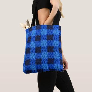 Tote Bag Crochet bleu frais de motif de plaid de guingan de