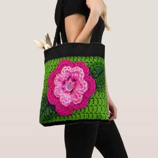 Tote Bag Crochet frais rose de vert de ressort de baisse de