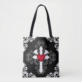 Tote Bag Croix gothique et coeur à ailes