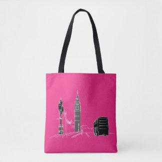 Tote Bag Croquis élégant de cool rose au néon de noir de