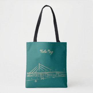 Tote Bag Croquis élégant de turquoise de pont de liberté de