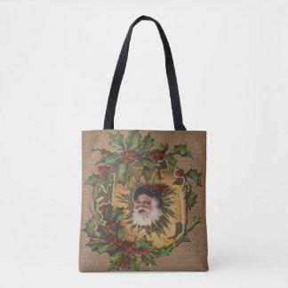 Tote Bag Cru antique de houx du père noël de Noël