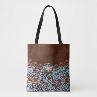 Tote Bag cuir usiné brun de pays occidental de turquoise