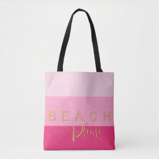Tote Bag De 3 rayures de plage scintillement rose d'or svp