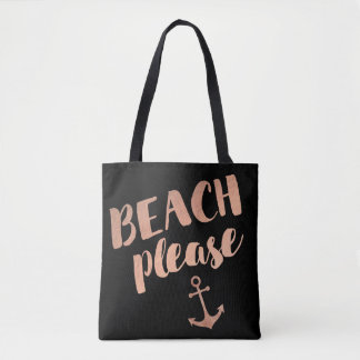 Tote Bag de plage calligraphie rose d'or svp