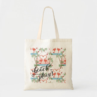Tote Bag De plage flamants roses svp