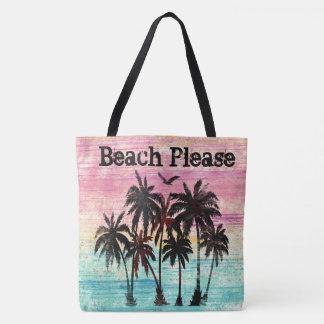 Tote Bag De plage palmiers et plage d'aquarelle svp