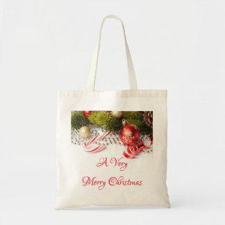 Tote Bag Décorations vertes rouges d'argent et de Noël