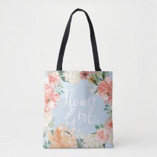 Tote Bag Demoiselle de honneur florale d'aquarelle de pêche