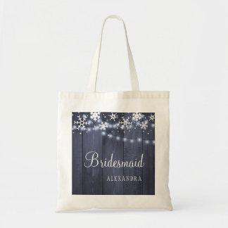 Tote Bag Demoiselle d'honneur en bois de mariage de pays