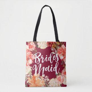 Tote Bag Demoiselle d'honneur florale Bourgogne d'aquarelle