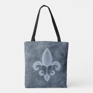 Tote Bag Denim têtu Blue Fleur de Lis Butterfly du style |