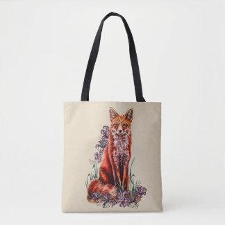 Tote Bag Dessin d'art animal rouge et de lis Fourre-tout de