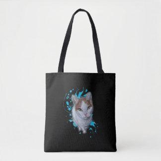 Tote Bag Dessin d'art de chat avec le coussin bleu de