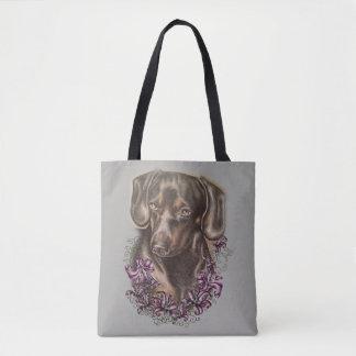 Tote Bag Dessin d'art et de lis de chien de teckel sur