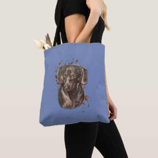 Tote Bag Dessin d'art et de peinture de chien de teckel sur