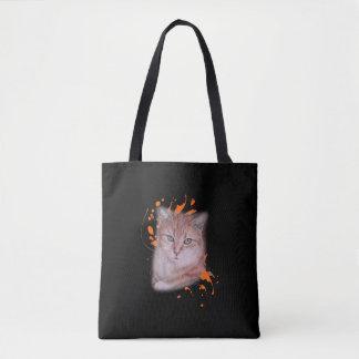 Tote Bag Dessin de chat tigré et de peinture oranges