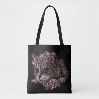 Tote Bag Dessin de chaton comme chat avec des lis sur
