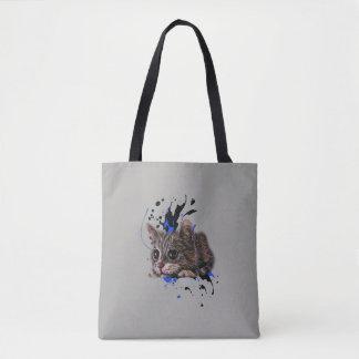 Tote Bag Dessin de chaton comme chat avec l'art Fourre-tout