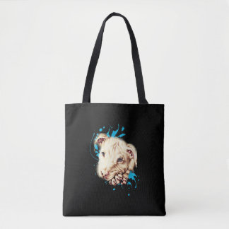 Tote Bag Dessin du pitbull blanc et de la peinture bleue