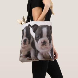 Tote Bag Deux chiots de Boston Terrier