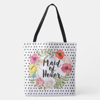 Tote Bag Domestique de guirlande florale d'aquarelle de