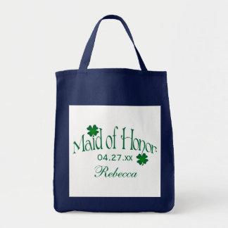 Tote Bag Domestique de shamrock de vert vert et de blanc de