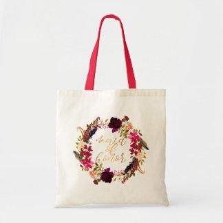 Tote Bag Domestique florale de guirlande d'aquarelle de