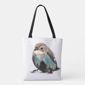 Tote Bag Double exposition d'oiseau