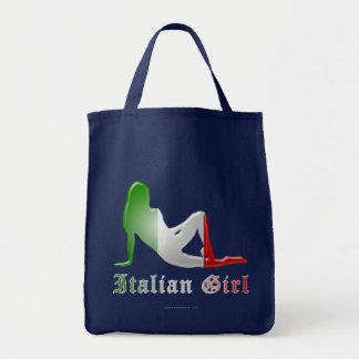 Tote Bag Drapeau italien de silhouette de fille