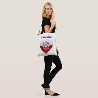 Tote Bag Drapeau polonais de coeur