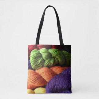 Tote Bag Écheveaux verts, oranges, et pourpres de fil