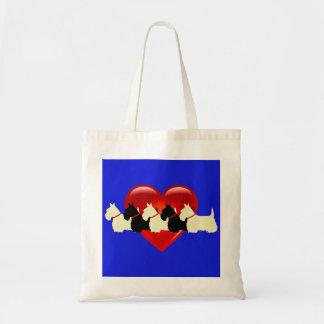 Tote Bag Écossais coeur noir/blanc de Terrier de silhouette