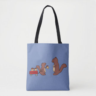 Tote Bag Écureuil souriant mignon partageant un chariot des