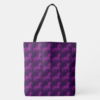 Tote Bag Élégant à la mode de licorne de motif pourpre de