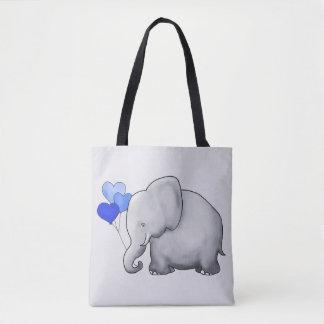Tote Bag Éléphant gris magnifique de bébé avec les ballons
