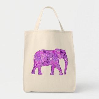 Tote Bag Éléphant, pourpre et orchidée de remous de