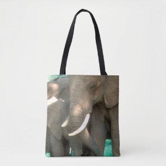 Tote Bag Éléphants protégeant des jeunes