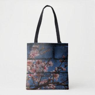 Tote Bag Emballages bleus de brique et de fleurs