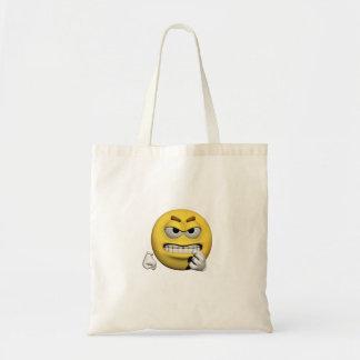 Tote Bag Émoticône fâchée jaune ou smiley