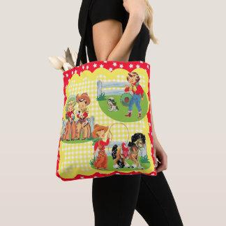 Tote Bag Enfants de cowboy et de cow-girl avec le chien et